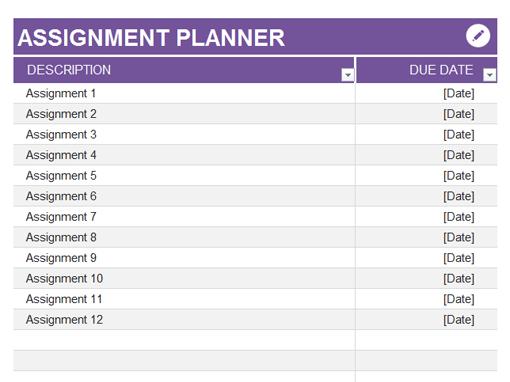 online assignment planner